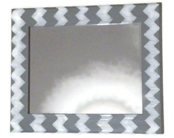 Gray chevron mirror, grey and white wall mirror, decorative mirror, hanging mirror, bathroom mirror, vanity mirror, geometric mirror