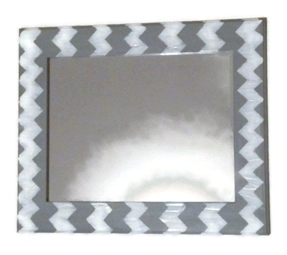 Items similar to gray chevron mirror grey and white wall for Large white decorative mirror