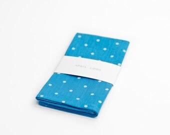 Blue polka dot pocket square, blue turquoise