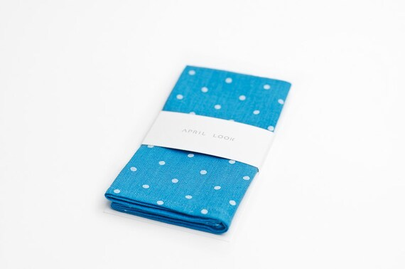Blue polka dot pocket square, blue turquoise