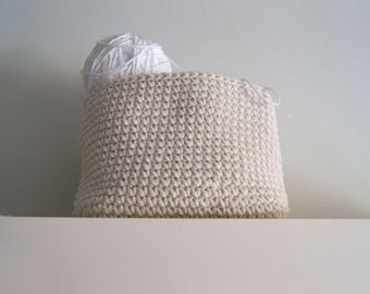 Large Crochet Square Basket in ivory