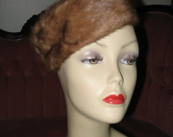 VINTAGE MINK PILLBOX Style Hat, 1950's Fur Hat, Russian Style