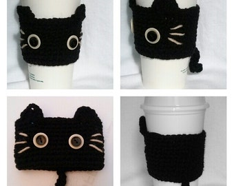 Crochet Black CAT Coffee Cup cozy/warmer/cup holder