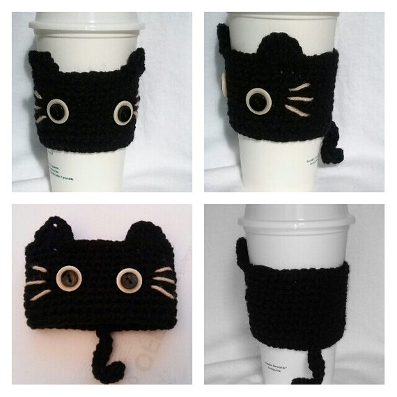 Knitting Pattern For Mug Holder : Crochet Black kitty CAT Cup Cozy CAT Coffee Cup