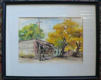 """watercolor by Elsa K. Skinner """"Fall at Cerrillos"""" 1960's art framed from Diz has Neat Stuff"""
