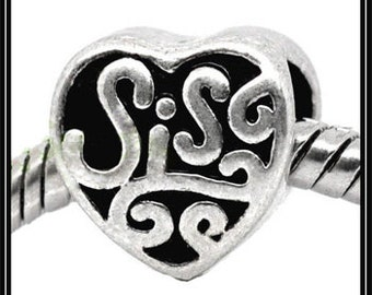 HEArT Shaped SIS - SiSTER - ANTiQUE Silver tone Charm Bead - fits European Bracelets - MS-1122
