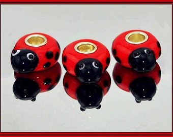 Cute 3D RED LaDYBuG (Beetle) with Head - BLaCK Bumpy Spots & Eyes - Murano - Lampwork 925 Glass Beads - fits European Bracelets - GT-6344
