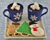 Felt Food Cocoa and Christmas Cookies, Felt Cocoa, Felt Hot Chocolate, Felt Cookies