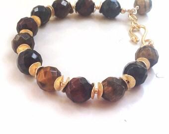 Tigers Eye Bracelet - Brown Jewellery - Gold - Vermeil - Fine Jewelry - Chunky - Multicolored