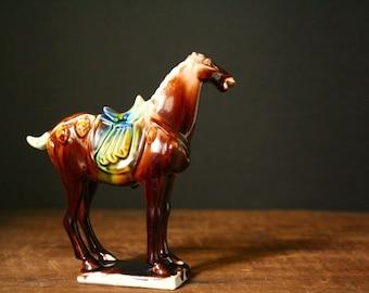 Asian warrior horse figurine, porcelain horse, Tang style horse figurine.