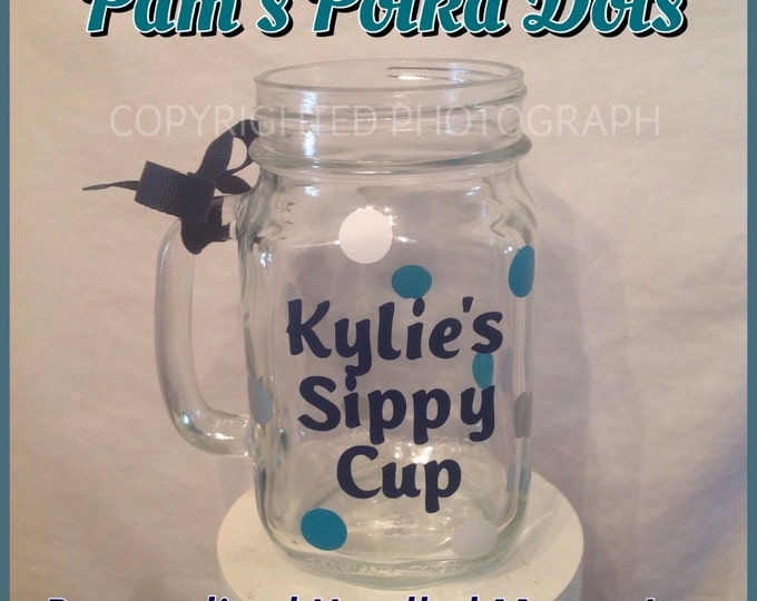 Personalized MASON JAR with HANDLE Monogram Words Initials Name & Polka Dots in Vinyl