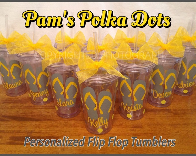 9 Personalized Clear TUMBLERS with FLIP FLOPS, name & polka dots Summer Pool Beach Gift