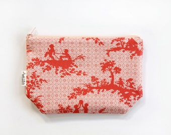 SALE- Ready to Ship Coral Zipper Pouch, Teacher's Gift, Children, Pouch, Purse, Organizer, Travel Bag, Zipper Bag, Art Supply Case, Fall