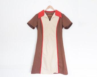 Vintage 70s Womens Brown  Zip Up SHIFT DRESS