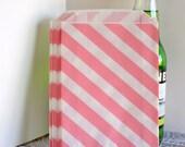 Pink Stripe popcorn bags, Pink diagonal stripe bags, Pink treat bags, Pink wedding candy bags, Pink cookie bags, Valentine treat bags