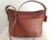 Vintage Coach Worth Bag Leather Shoulder Bag in Cocoa Brown Leather Style 4143