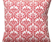 CLEARANCE- Decorative Pillows- Premier Prints Red Madison Damask Pillow Cover- 14x14 inches- Zippered Pillow- Cushion Cover- LAST ONE