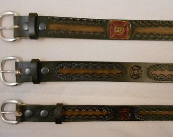 Firefighter Leather Belt, Fireman, USA HandCrafted Brotherhood Design