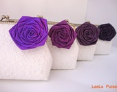 Purple Wedding Party / Summer wedding / set of 4 personalized lace clutches with purple ombre roses