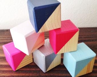 Custom Painted Wood Blocks / Nursery decor, baby gift, wood decor