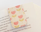 Magnetic Bookmark, Laminated Page Marker, Planner Bookmarks Spring Tulips Pink Green Glitter Easter Ready to Ship