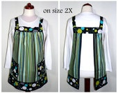 "Retro Pinafore Apron, ""no tie apron"" - Hoopla Lagoon Stripe -made-to-order smock, XS to Plus Size -cooking and baking apron"