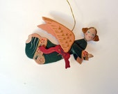Wooden angel ornament, hand painted shabby chipped pink wings angel