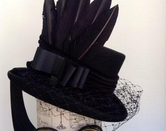 Victorian steampunk gothic raven black hat