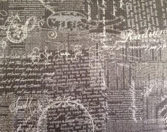 Dark grey script cotton fabric chamberry fabric by Adornit fabrics T-00399