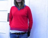 vintage red sweater. polish. acrylic. medium.