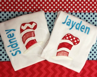 Red White Striped Storybook Hat Name Chevron & Polka Dot Embroidered Applique - White Shirt 100% Cotton - MADE TO ORDER