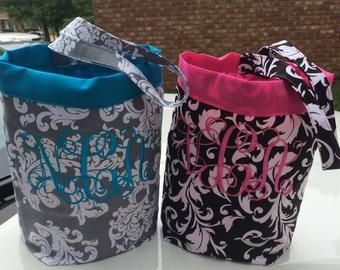 Car trash bag - Custom made in any color or print-  grey or black floral damask 4 inch monogram