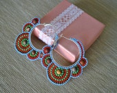 Multicolor Seed Bead Hoop Earrings with Picasso Jasper Stone Beads Custom order for Annette PM
