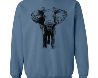 Elephant Sweater - Unisex Fleece Pullover Sweatshirt - Unisex - Men Womens Elephant Sweatshirt - Elephants - Gift - S M L Xl Xxl