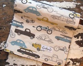 Vintage Cars & Trucks Baby Blanket - Baby Boy - Retro Rides in Brown, Yellow and Vintage Blue - Minky Baby Blanket
