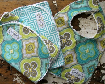 Bib and Burp Gift Set - Aqua Moroccan Tile and Greek Keys - Gender Neutral - Baby Boy - Baby Girl