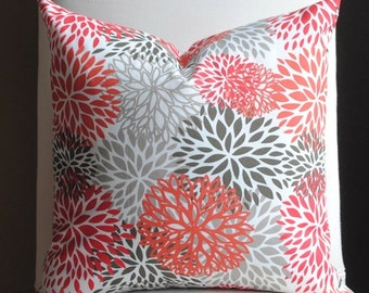 OUTDOOR PILLOW-Two Sided-20x20-Decorative Pillow-Terrace-Poppy-Blooms-Red-White-Designer Pillow