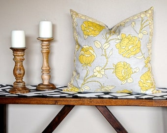 """NEW-Ready to ship-Designer Pillow Cover-22x22-Lotus Blossom with Velvet 2"""" Border- Pillow-Accent Pillow-BOTH SIDES-Grey Pillow"""