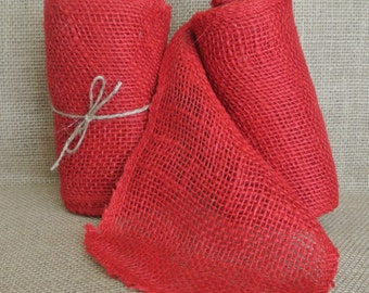 Red Burlap Ribbon 5.5 in x 15ft