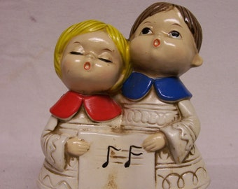 Chalk Christmas Carolers Vintage Choir Kids Figurine Japan