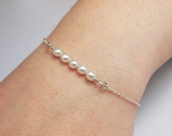 Pearl Bar Bracelet, Chain, Sterling Silver -  For Her, Mother gift, Anniversary, Wedding, Bridesmaid Gift, Elegant Delicate Fine Jewelry
