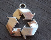 4 Silver Recycle Charms  29mm 1.1 inches Recycle Reuse Reduce