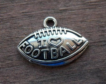 10 Silver Football Charms 21mm I Love Football Antiqued Silver