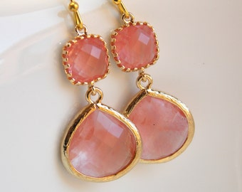 Coral Earrings, Peach Earrings, Grapefruit, Champagne, Pink, Gold, Bridesmaid Jewelry, Bridesmaid Earrings, Bridal Jewelry, Bridesmaid Gift