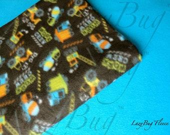 Pack and Play Sheet  Blanket Set Handmade Fleece Bedding for Babies 'Construction Trucks' Print