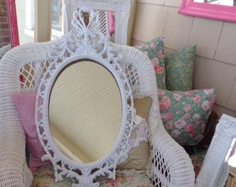 Large Vintage baroque mirror/chalkboard, nursery, decorative satin white frame
