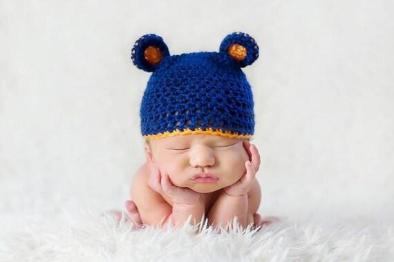 Chicago Bears Crochet Hat with Bear Ears
