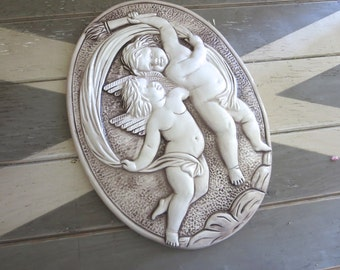 "SALE Capodimonte Wall Plaque Cherubs Oval 14"" tall Italy Wall Art"
