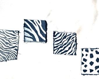 Animal Print Denim Patch Hand Painted Zebra Stripes