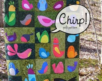 Chirp - a bird applique quilt pattern (PDF, digital pattern, instant download)